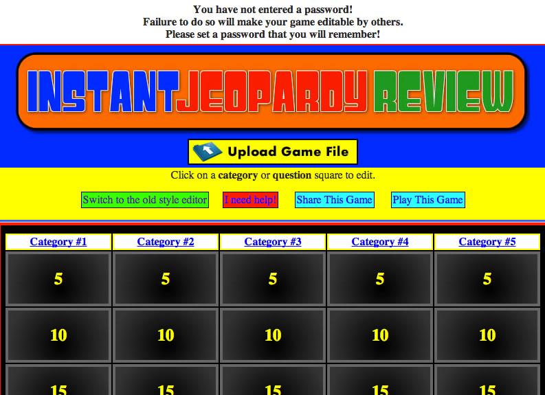 Jeopardy Edit Screen 1